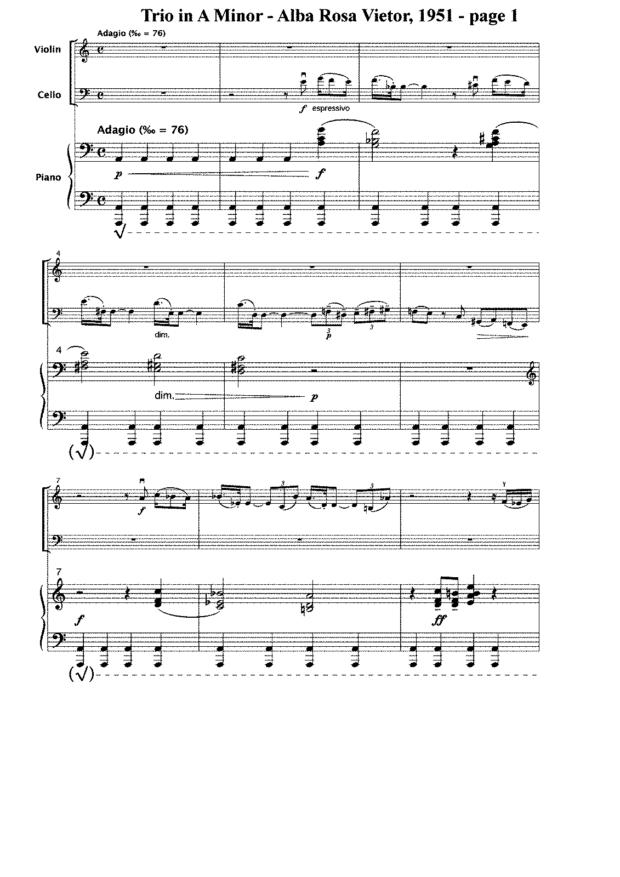 Piano piano trio sheet music : Works - Alba Rosa Viëtor